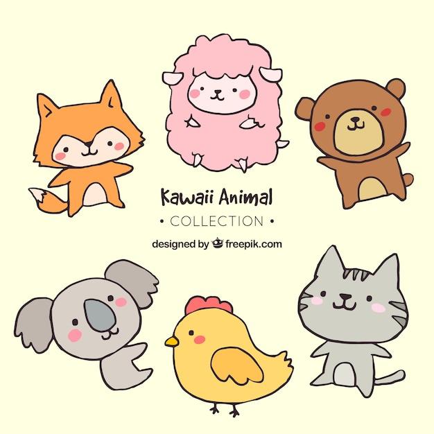 Colección de animales adorables dibujados a mano  Vector Gratis