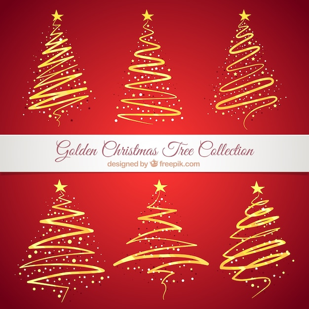 coleccin de rboles de navidad abstractos dorados