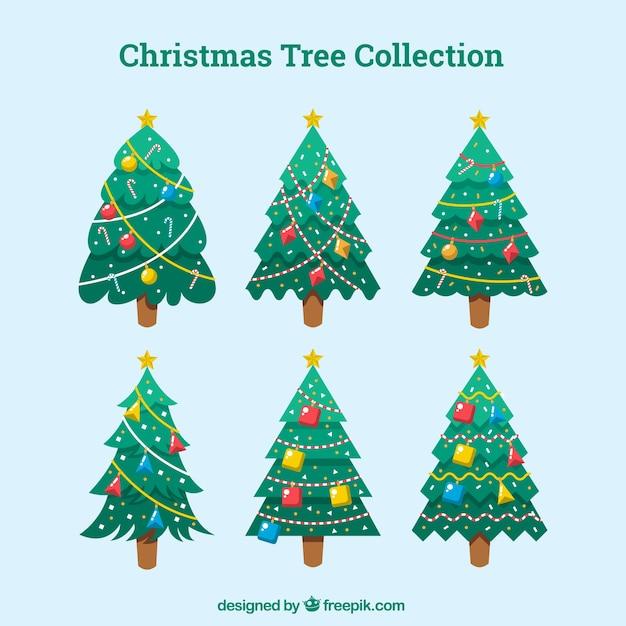 Colecci n de rboles de navidad con adornos en dise o - Arbol navidad diseno ...