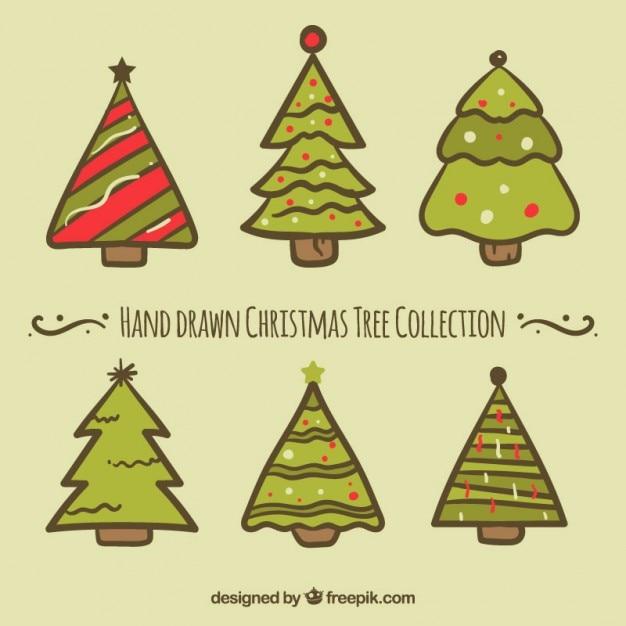 Coleccin de rboles de navidad dibujados a mano Descargar