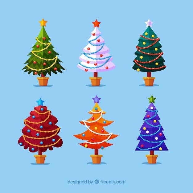 Colecci n de rboles de navidad en diferentes colores - Arboles de navidad diferentes ...