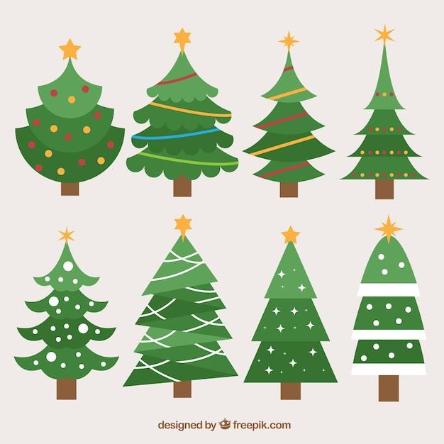 Colecci n de rboles de navidad en dise o plano - Arbol de navidad diseno ...