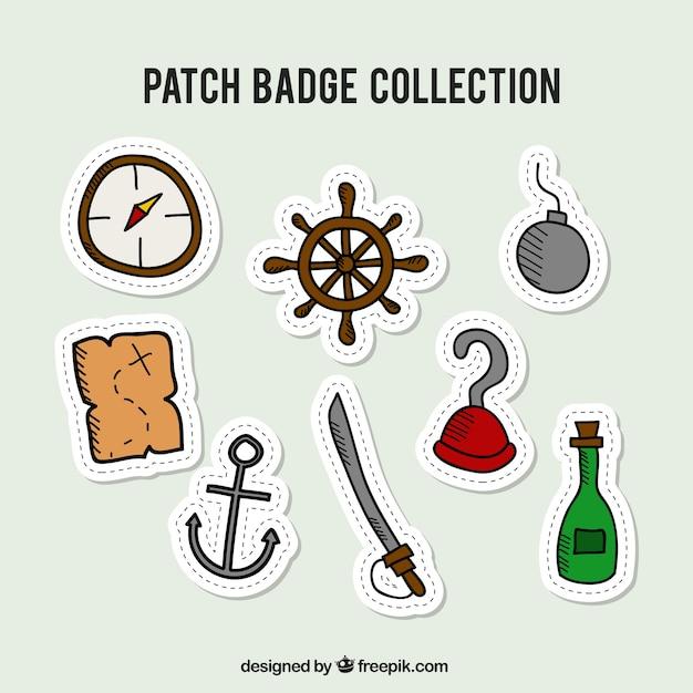 Colección de badges de piratas dibujados a mano | Descargar Vectores ...