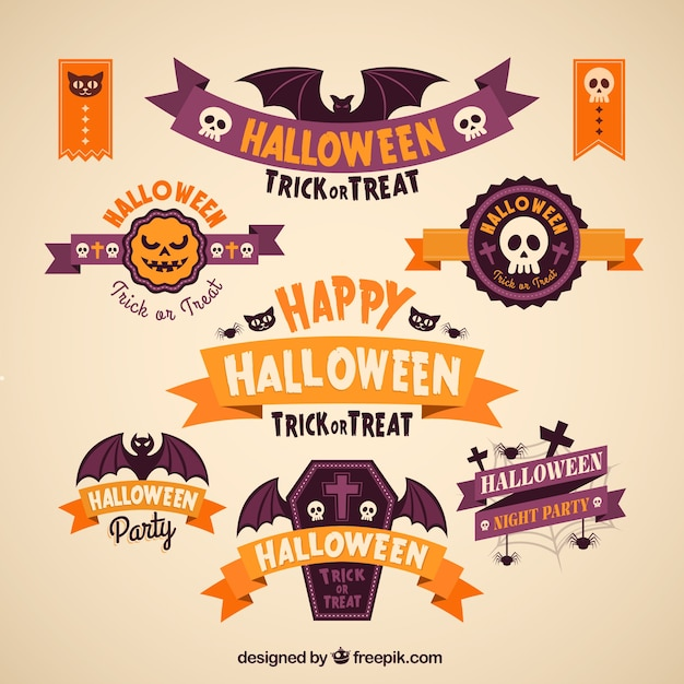Colección de banners de feliz halloween Vector Premium