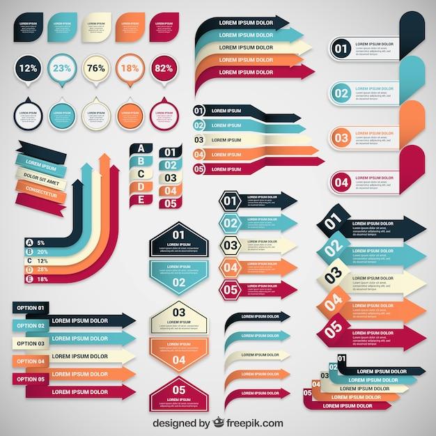 Colección de banners de infografía Vector Gratis