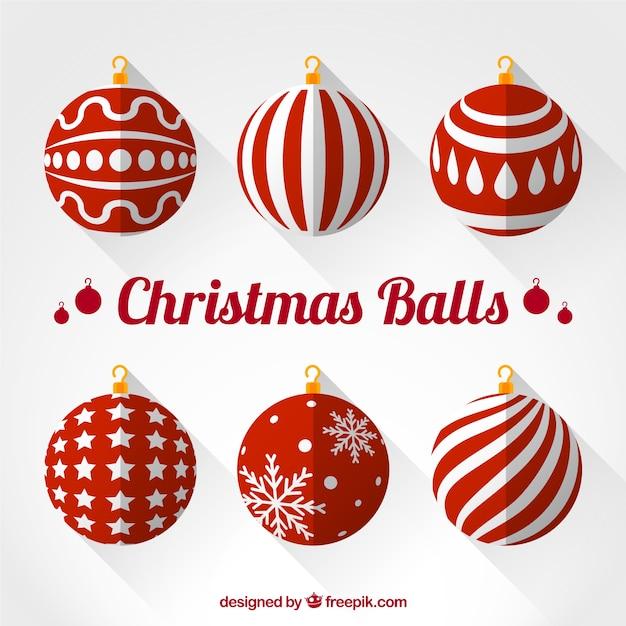 Colecci n de bolas rojas de navidad descargar vectores - Bolas de navidad rojas ...
