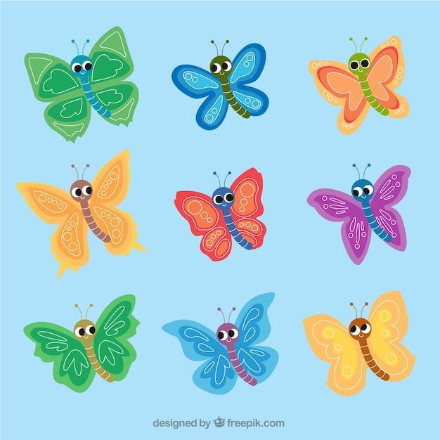 Colección de bonitas mariposas infantiles | Descargar Vectores gratis