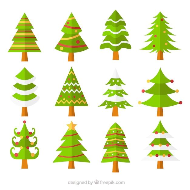 Colecci n de bonitos rboles de navidad en dise o plano - Arboles de navidad bonitos ...