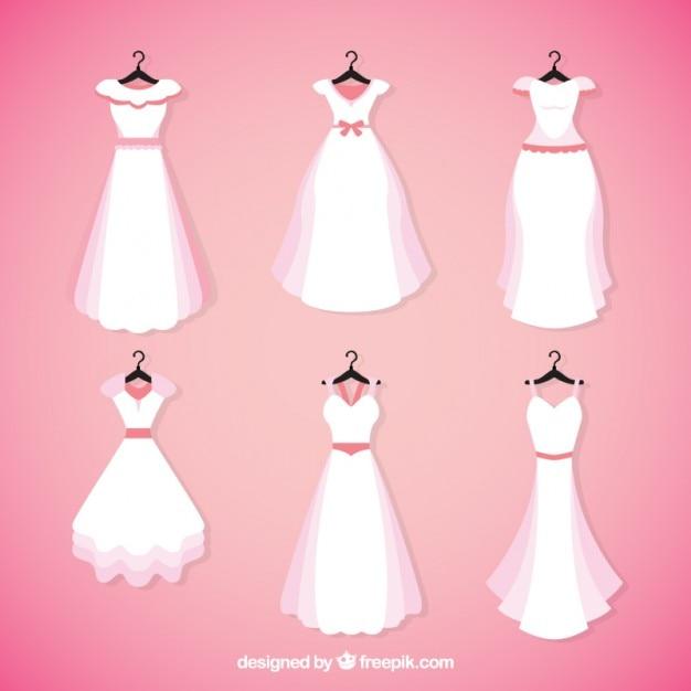 Colección de bonitos vestidos de novia | Descargar Vectores gratis