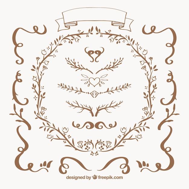 Colecci n de bordes ornamentales florales descargar for Formas ornamentales