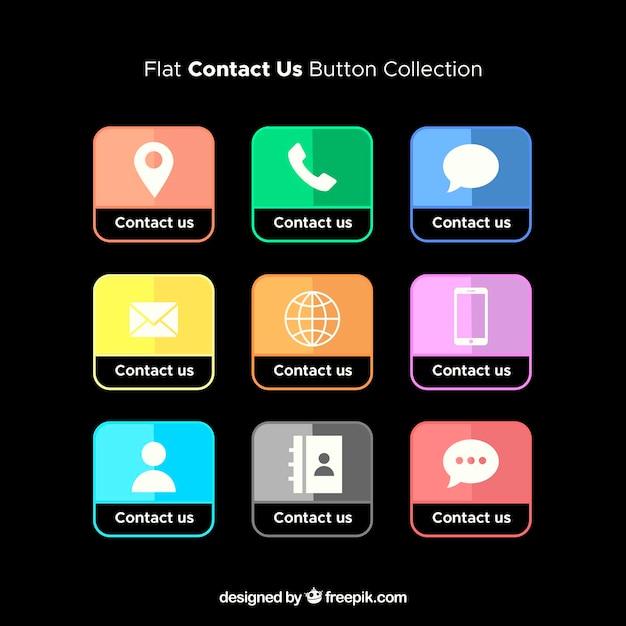 Colección de botones de contacto Vector Gratis