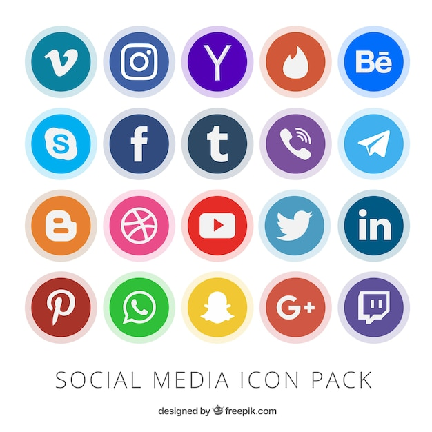 Colección de botones de redes sociales Vector Gratis