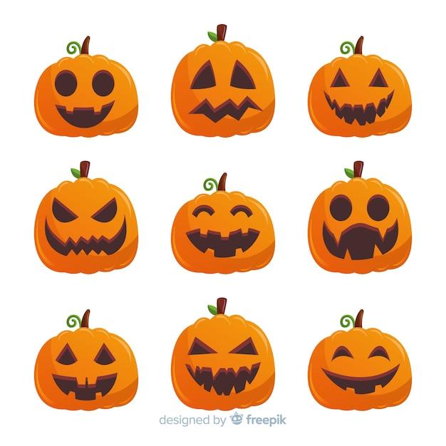 Colección de calabazas de halloween con diseño plano   Descargar ...
