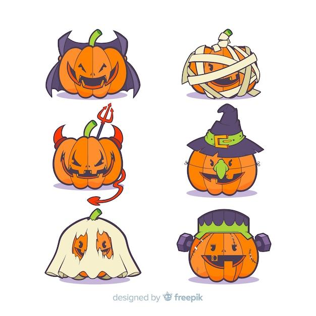 Colección de calabazas disfrazadas de halloween   Descargar Vectores ...