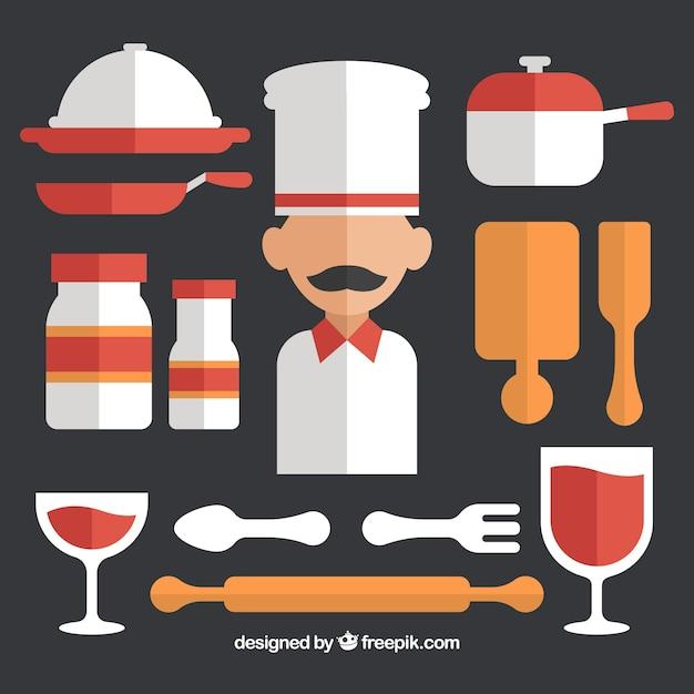 Colecci n de chef con sus utensilios de cocina en dise o - Utensilios de cocina de diseno ...