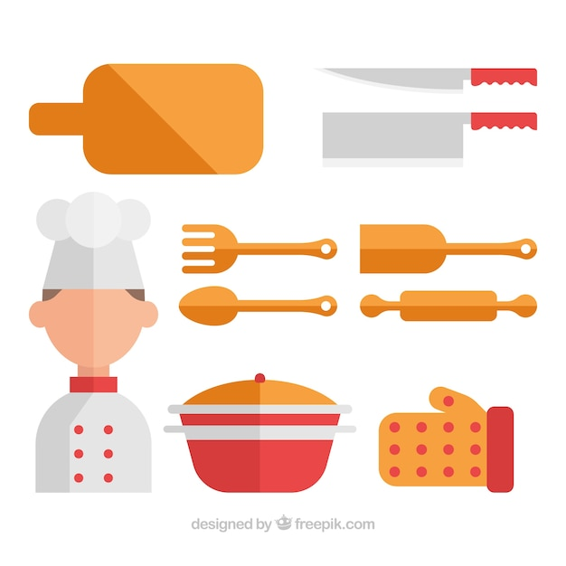 Colecci n de chef con utensilios de cocina en dise o plano descargar vectores gratis - Utensilios de cocina de diseno ...