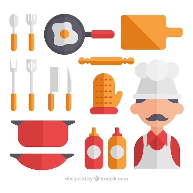 Colecci n de chef y utensilios de cocina en dise o plano for Utensilios de chef