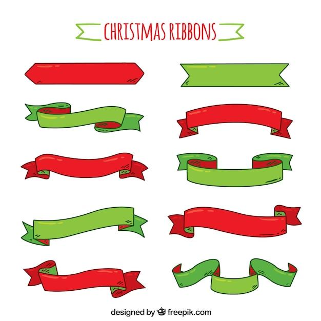 Colecci n de cintas de navidad dibujadas a mano - Cinta de navidad ...