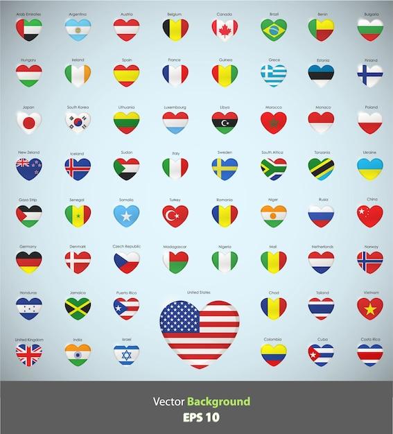 coleccin de corazones con diseo de banderas vector gratis