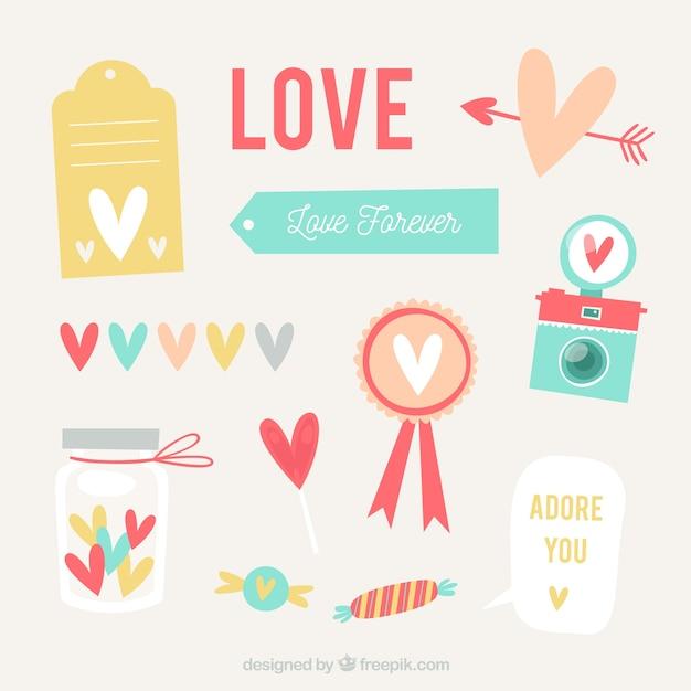 Colección de corazones planos Vector Gratis