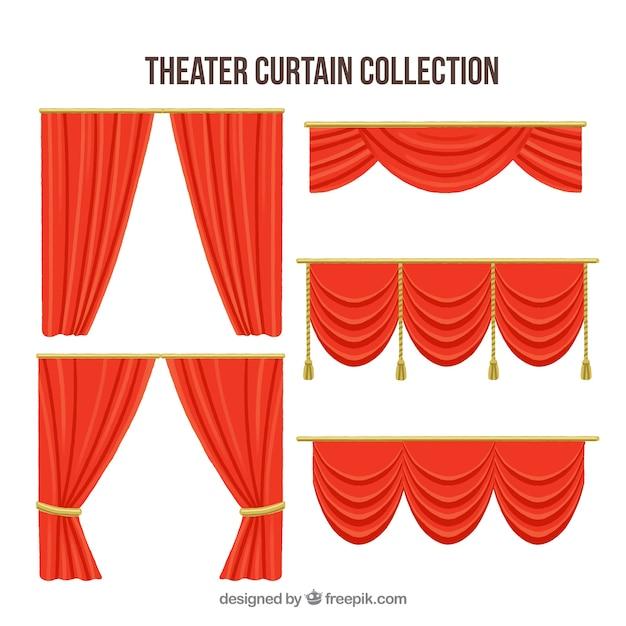 coleccin de cortinas rojas de teatro vector gratis