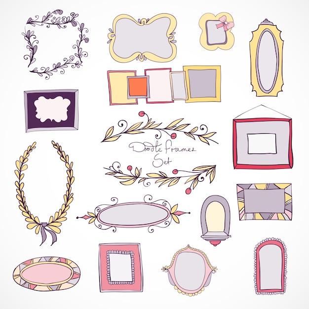 coleccin de dibujado a mano marcos de doodle y elementos de diseo para la decoracin con