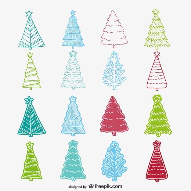 coleccin de dibujos de rboles de navidad de colores vector gratis