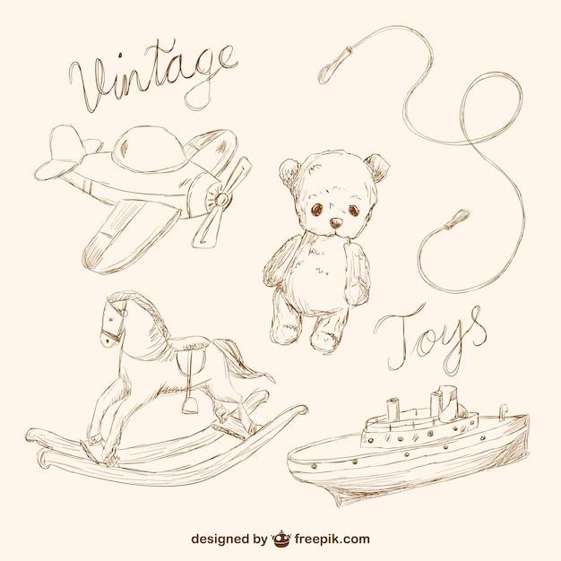 coleccin de dibujos de juguetes estilo vintage vector gratis