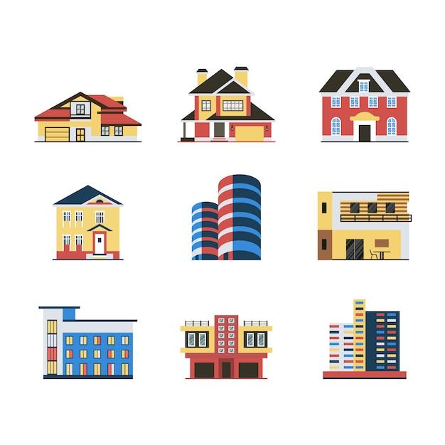 Colecci n de dise o de edificios descargar vectores gratis for Diseno de edificios