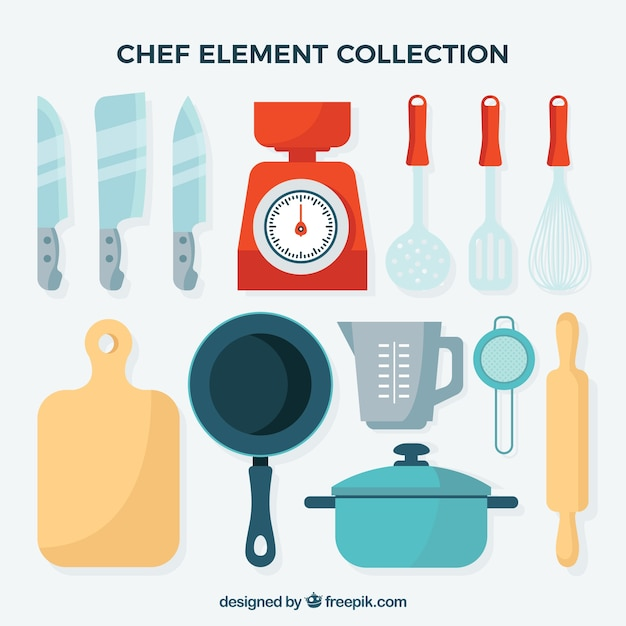Colecci n de elementos de cocina para el chef descargar for Elementos de cocina para chef