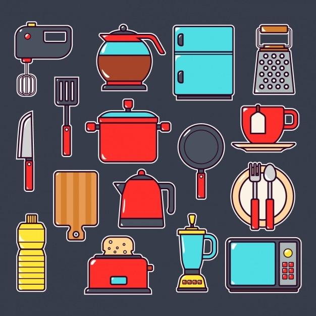 Colecci n de elementos de cocina descargar vectores gratis - Objetos de cocina ...