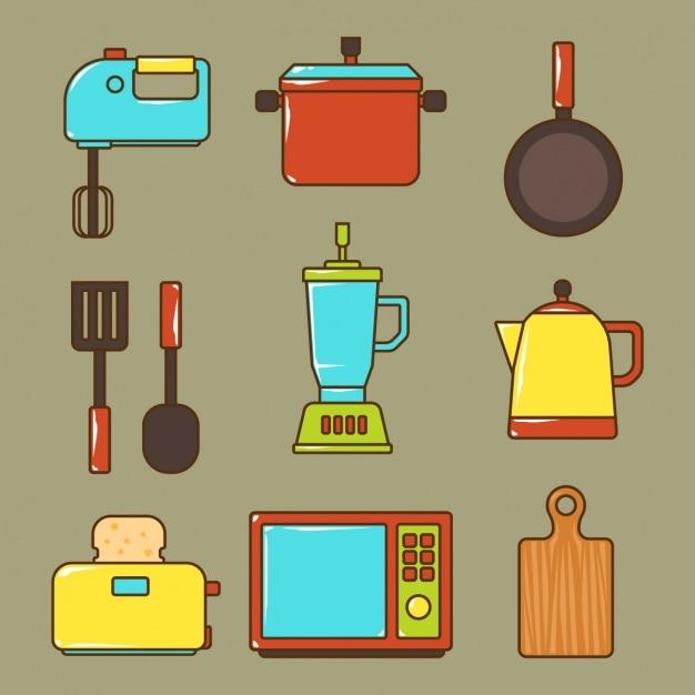 Colecci n de elementos de cocina descargar vectores gratis for Elementos de cocina para chef