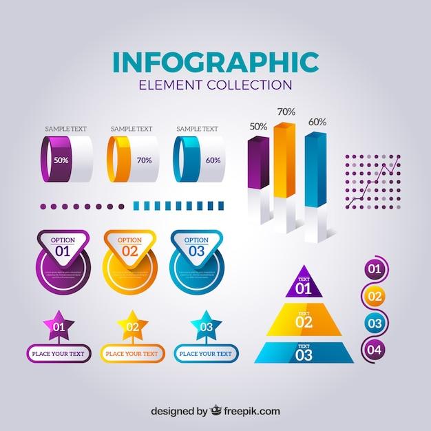 Colección de elementos de infografía en estilo realista Vector Gratis