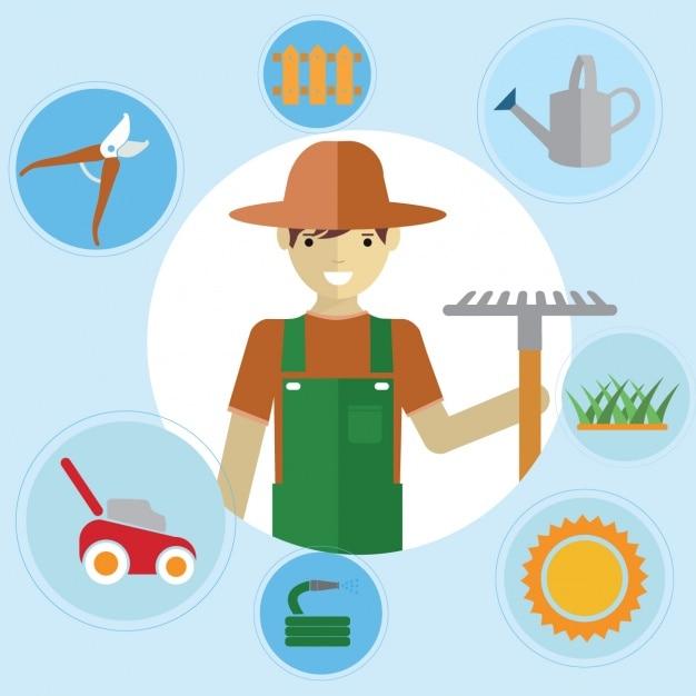 Colecci n de elementos de jardiner a descargar vectores for Elementos de jardineria