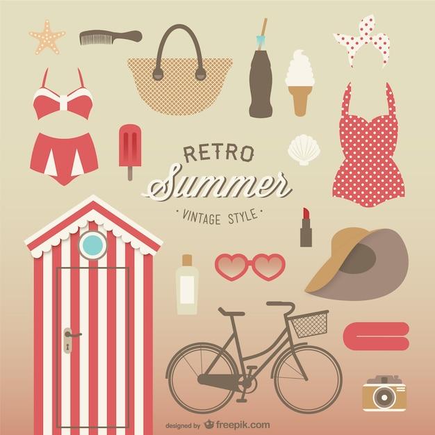Trajes De Baño Estilo Vintage:coleccion-de-elementos-de-verano-estilo-vintage_23-2147492679jpg