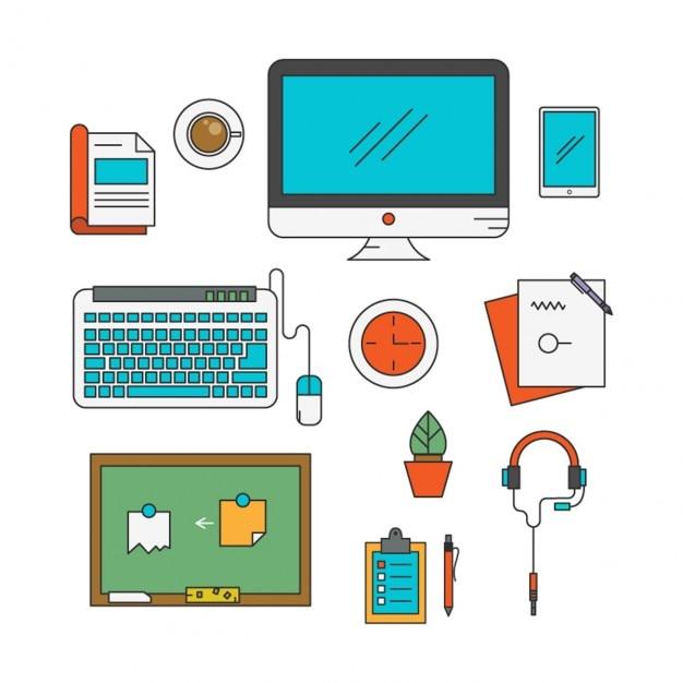 Colecci n de elementos planos de oficina descargar for Elementos para oficina