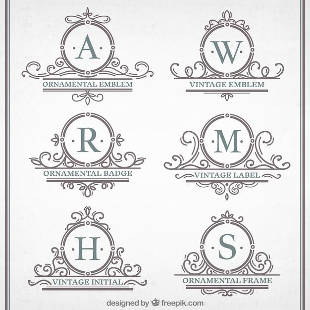 Colección de emblemas ornamentales vintage Vector Premium