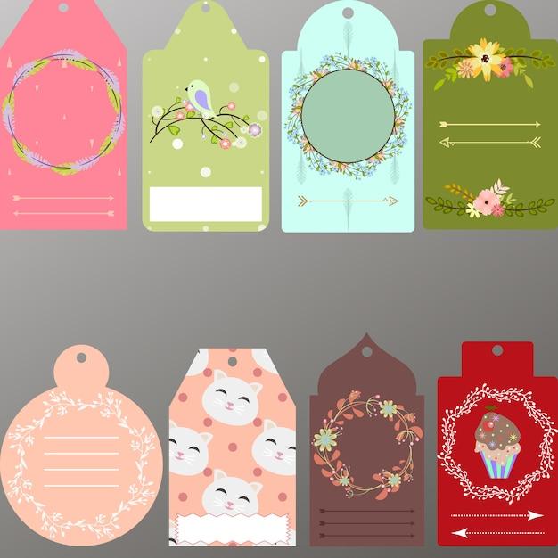 Colección de etiquetas bonitas Vector Gratis