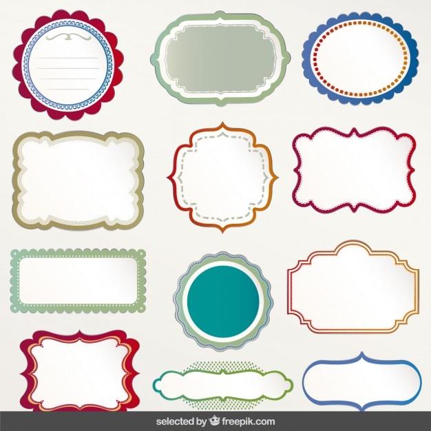 Colección de etiquetas con contornos coloridos | Descargar Vectores ...