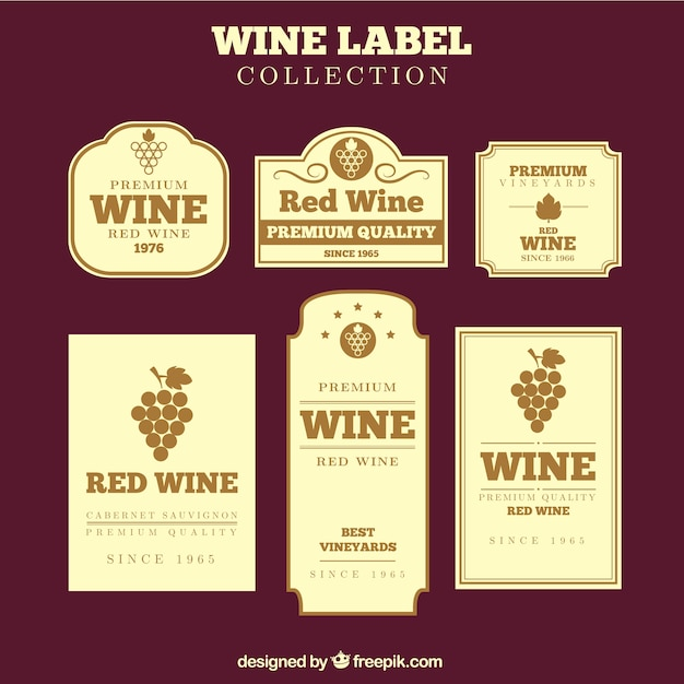 Colecci n de etiquetas vintage de vino en dise o plano for Diseno de etiquetas