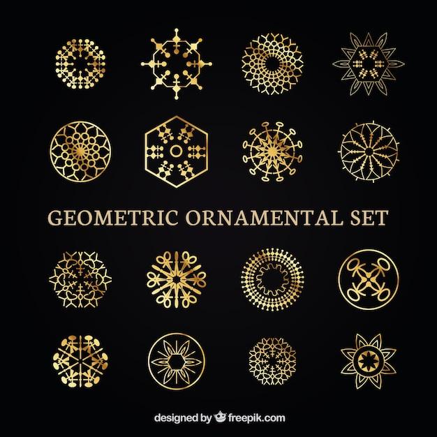 Colecci n de formas geom tricas doradas ornamentales for Formas ornamentales