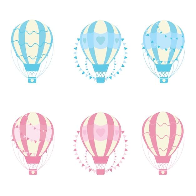 Colección de globos aerostáticos a color | Descargar Vectores gratis