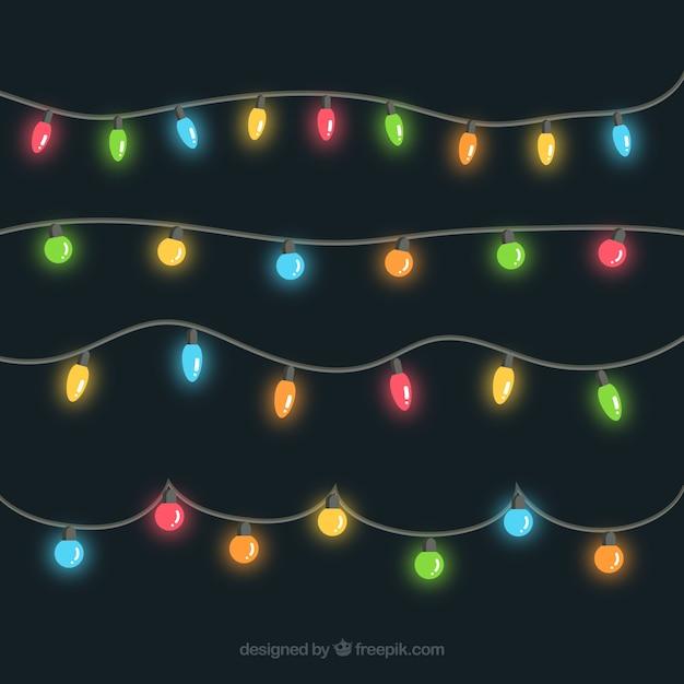 coleccin de guirnaldas de luces de colores vector gratis - Guirnaldas De Luces