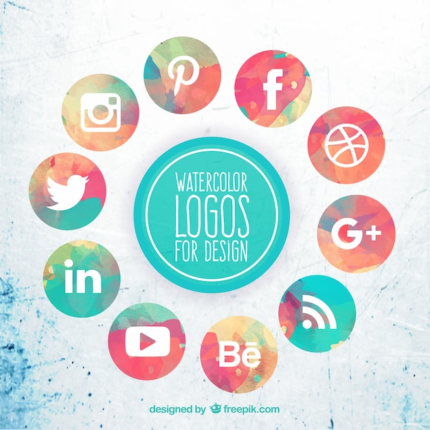 Colección de iconos de acuarela de redes sociales Vector Gratis