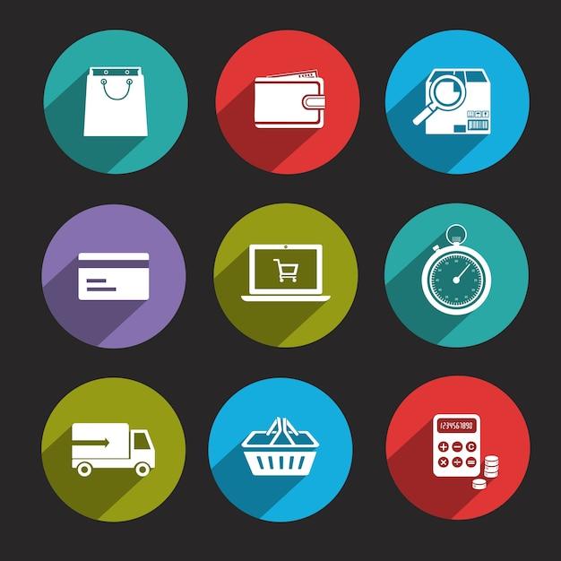 Colecci n de iconos de compra online descargar vectores for Compra de vajillas online