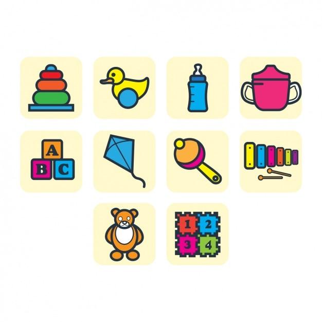 coleccin de iconos de juguetes de nios vector gratis