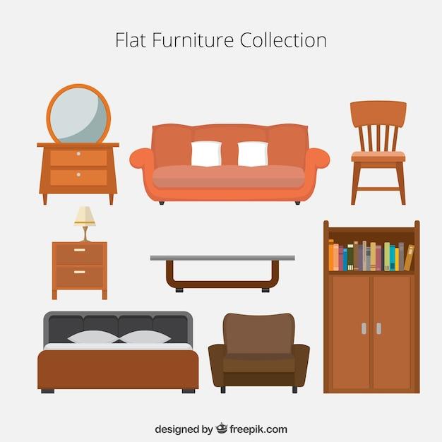 Colecci n de iconos de muebles planos descargar vectores for Cursos de muebleria gratis