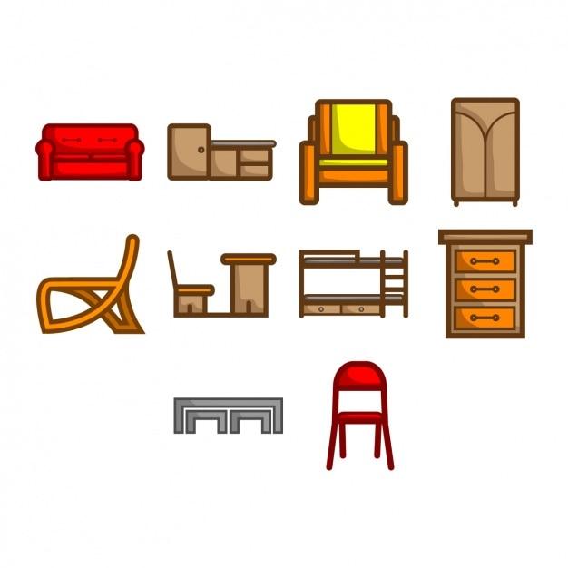 Colección de iconos de muebles | Descargar Vectores gratis