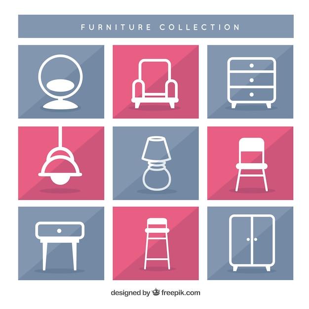 Colección de iconos de muebles   Descargar Vectores Premium