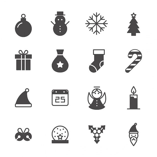 colecci n de iconos de navidad en blanco y negro. Black Bedroom Furniture Sets. Home Design Ideas
